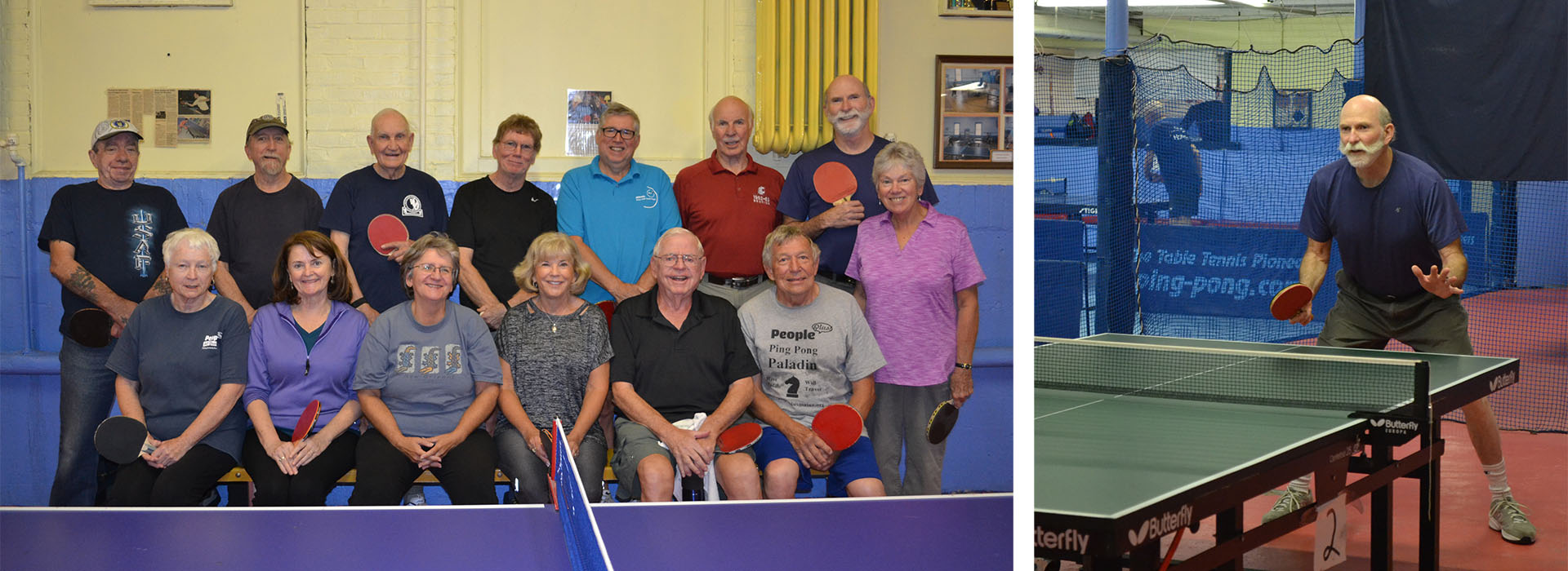 left: a group of table tennis players posting in a group photo behind a game table, right: a man actively playing table tennis